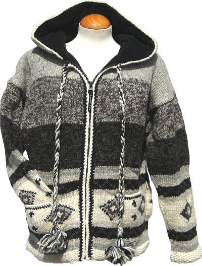 Hand knit - pixie hooded jacket - graduated Grey