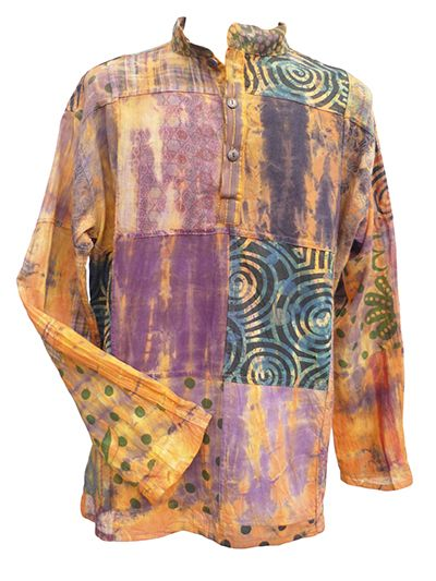 Tie Dyed Patchwork Shirt - Dawn
