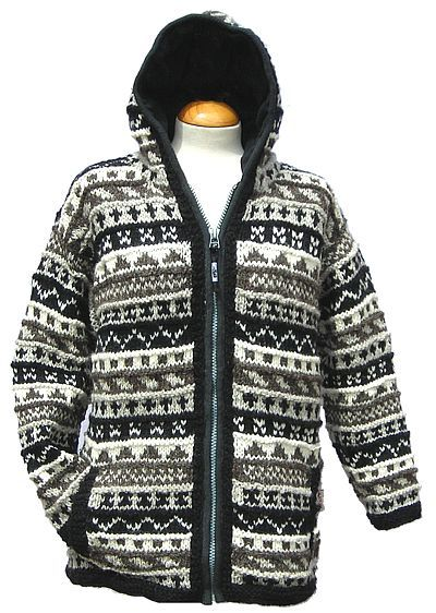 Fleece lined - patterned hooded jacket - Black/ Natural