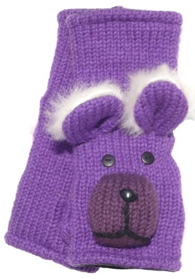 Fleece lined wristwarmer - bear - Purple