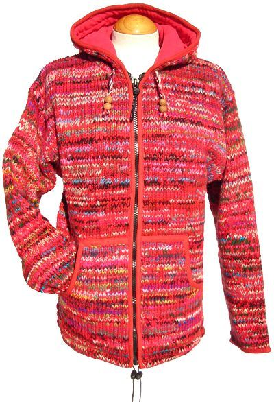 Fleece lined - hooded jacket - electric - Red