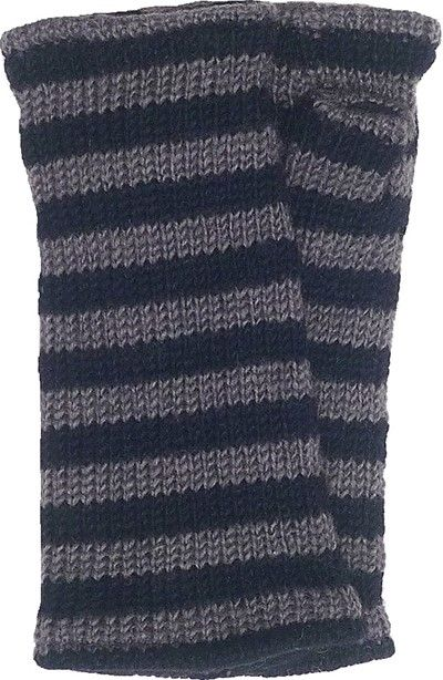 Fleece lined wristwarmer - stripe - Grey/Black