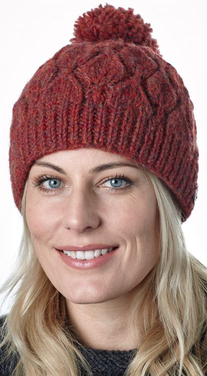 Leaf bobble hat - hand knitted - pure wool - fleece lining - rust heather