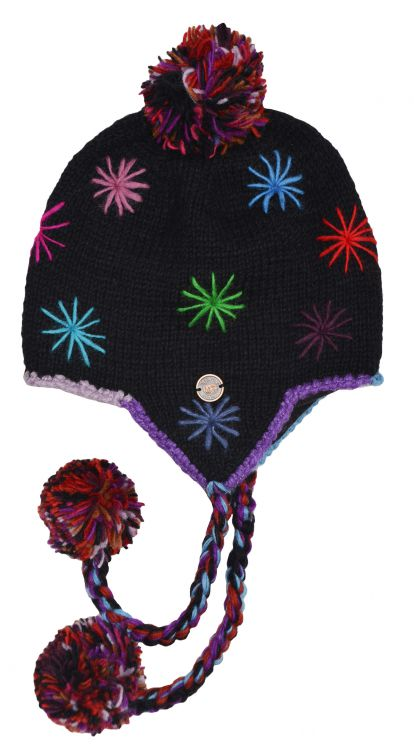 Starburst earflap hat - pure wool - hand knitted - fleece lining - black