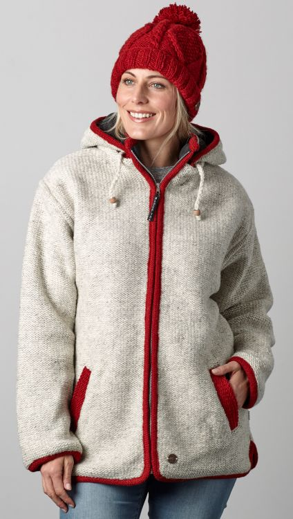 Pure wool - detachable hood - contrast trim - pale grey/red