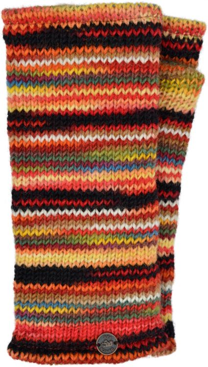 Pure wool - electric stripe wristwarmers - orange