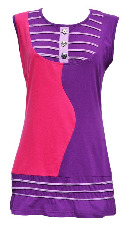 Soft cotton - buttoned wave tunic - pink/fuschia