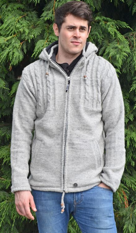 detachable hood - half cabled jacket - Pale Grey