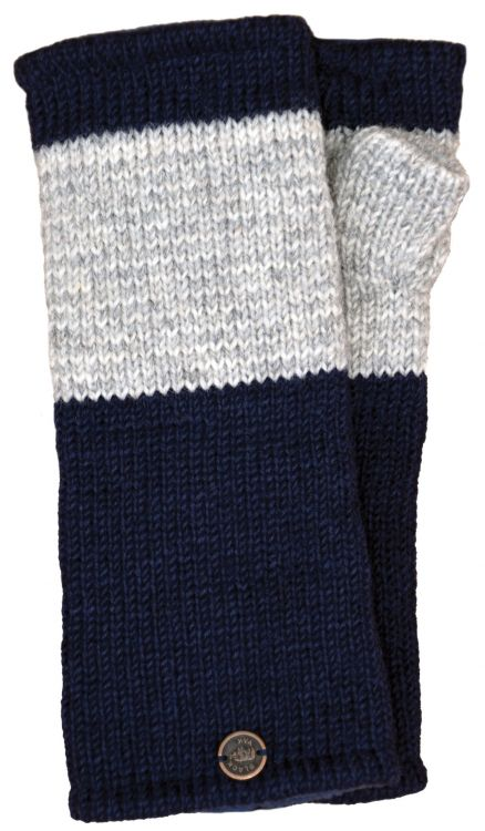 Fleece lined - wristwarmer - thin stripes - dark blue/Grey