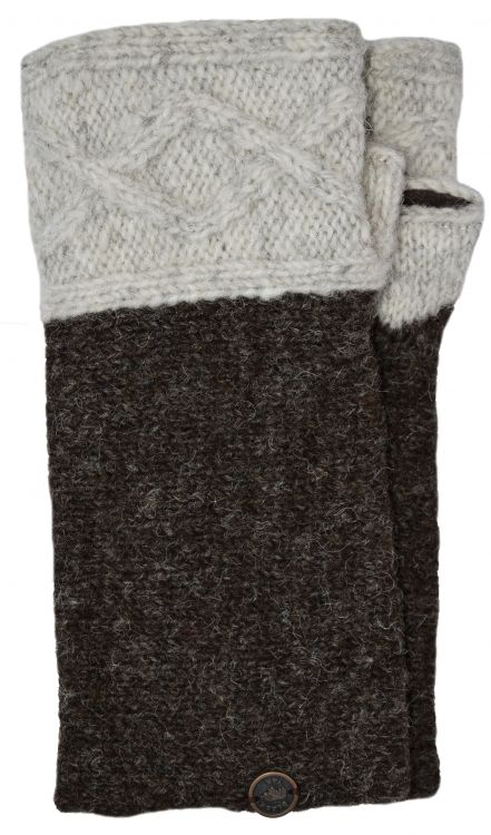 Hand knit pure wool - Fjord wristwarmer - Pale grey/marl brown