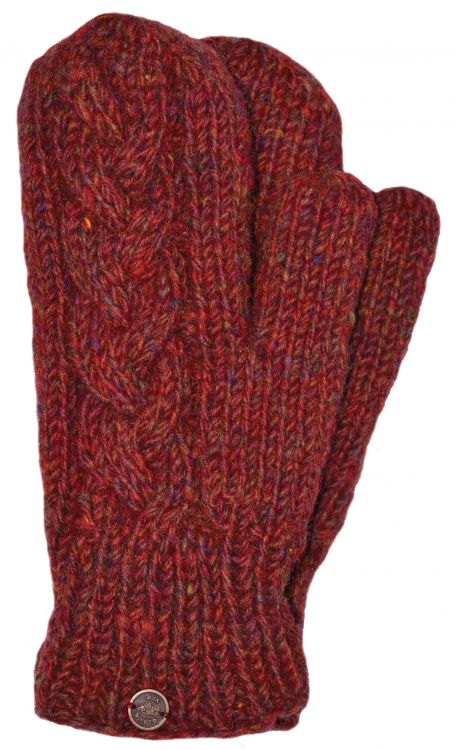 Fleece lined mittens - Cable - Rust heather