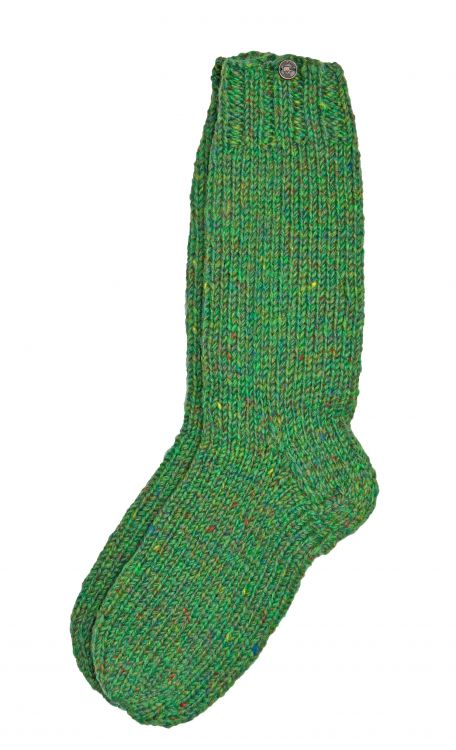 Pure wool - hand knit socks -  plain green heather