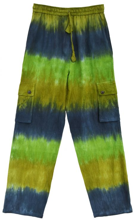 Tie Dyed cargo Trousers - Teal/greens