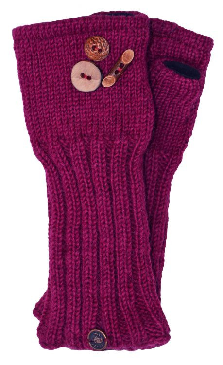 Fleece lined wristwarmer - fruit button - Berry