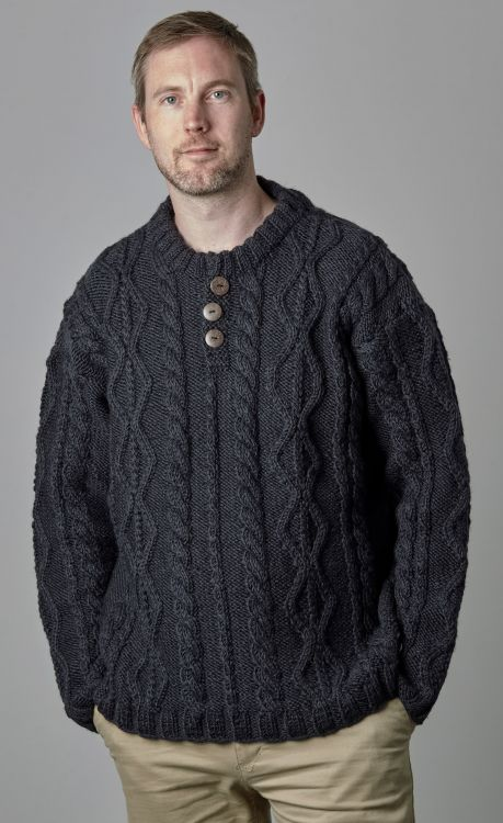 pure wool jumper - cable - Smoke