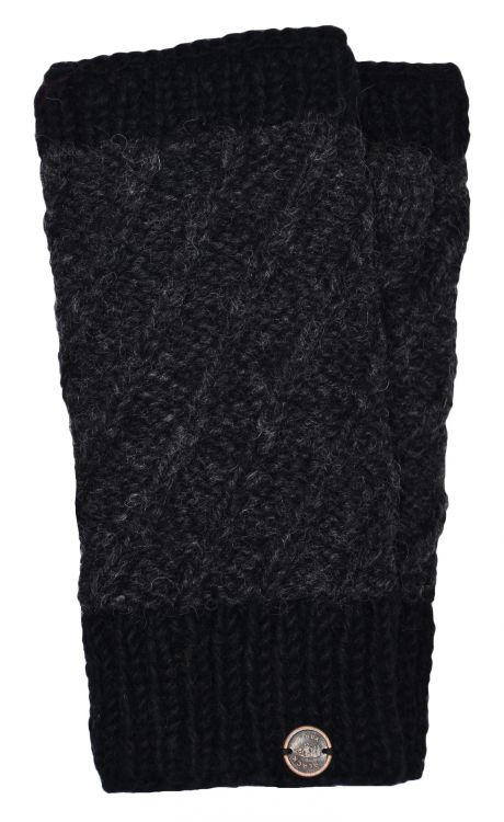 Fleece lined - contrast border - wristwarmer - Charcoal/black