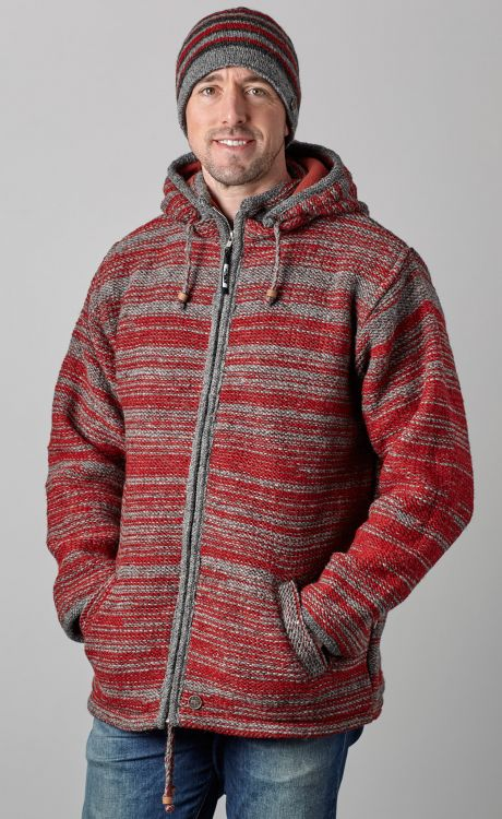 detachable hood - two tone random stripe - red/grey