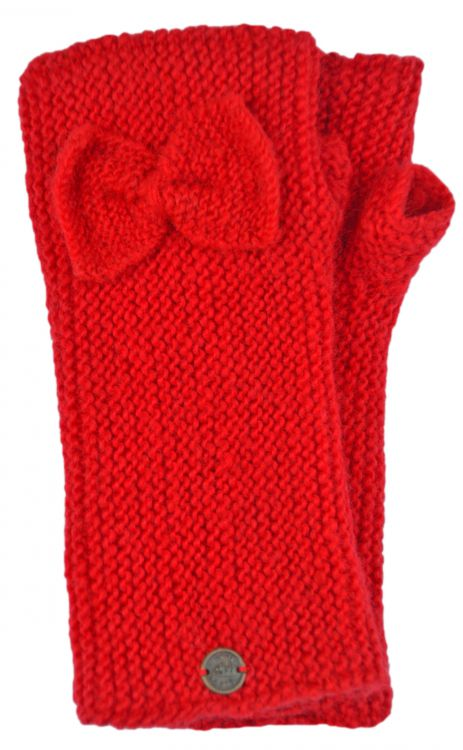 Pure wool - single bow - wristwarmers - red