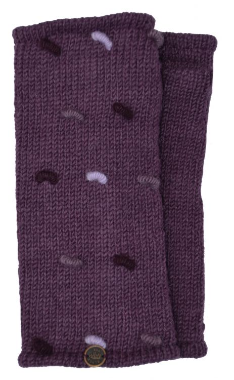 Fleece lined wristwarmers - french knot - Grape