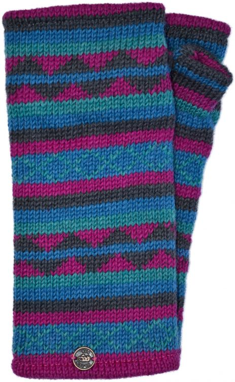 Stripe and wave - pure wool wristwarmer - blue/pink