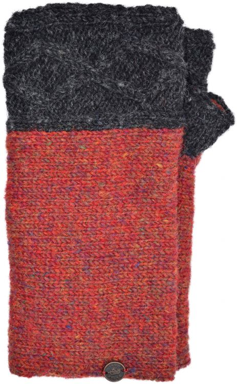 Hand knit pure wool - Fjord wristwarmer - Charcoal/rust heather
