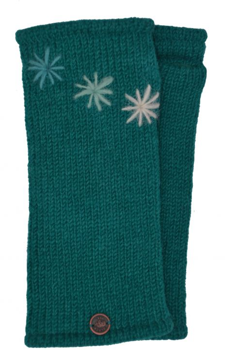 Fleece lined wristwarmer - three star - Teal