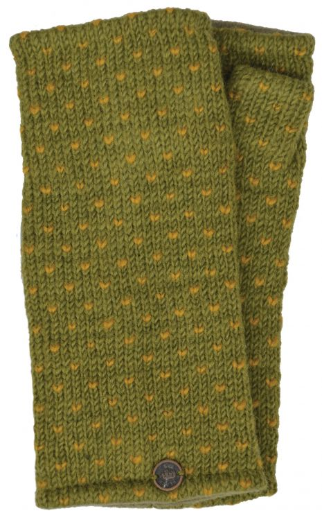 Fleece lined wristwarmer - tick - Green/mustard