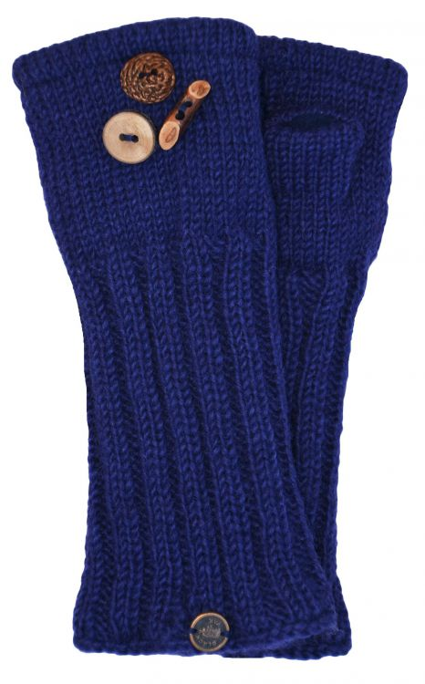 Fleece lined wristwarmer - fruit button - Dark blue