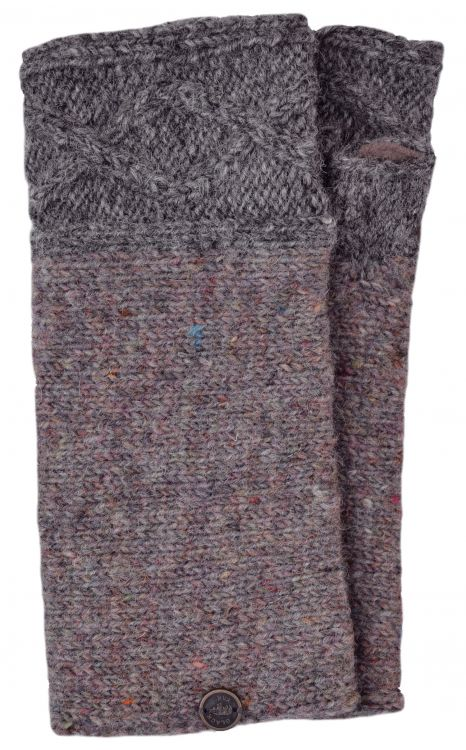 Hand knit pure wool - Fjord wristwarmer - Mid grey/pale heather