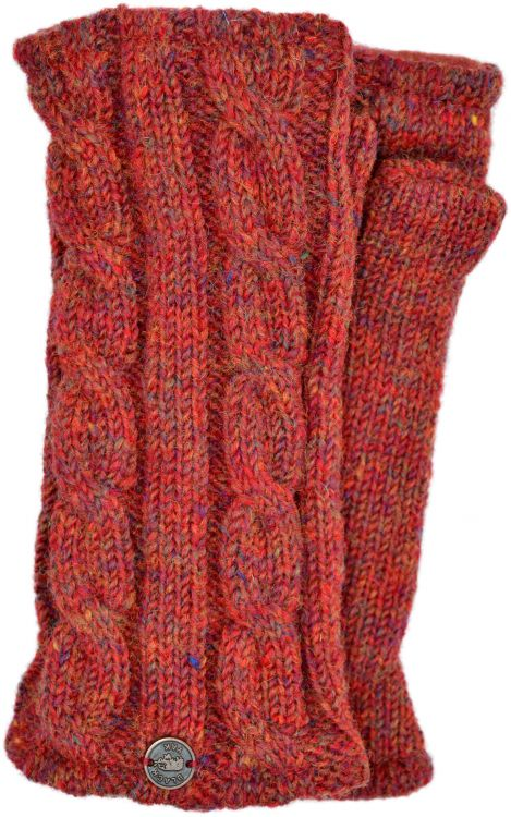 Fleece lined wristwarmer - cable - heather rust