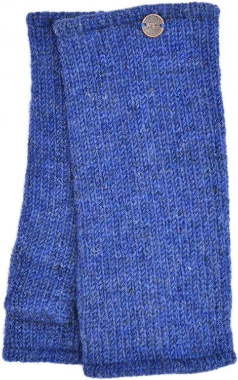 Pepper heather - pure wool plain wristwarmer - blue
