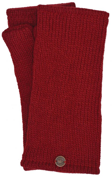 Fleece lined wristwarmer - Plain - Deep Red