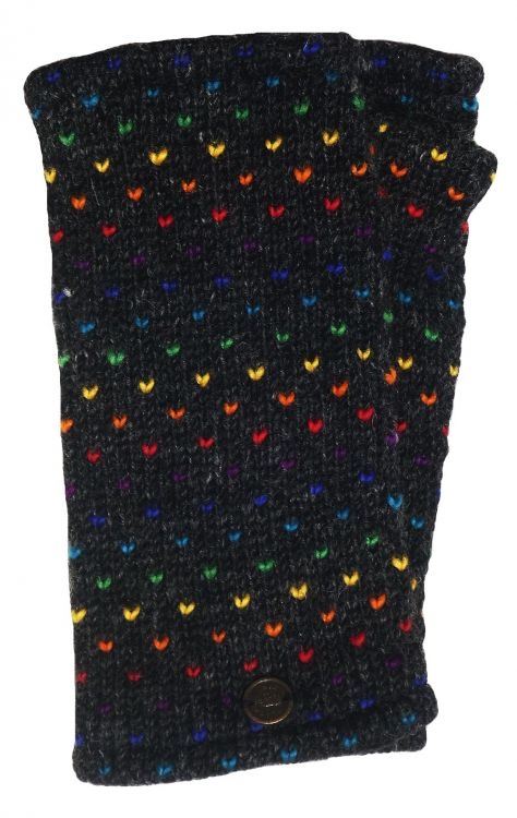 Fleece lined wristwarmer - rainbow tick - Charcoal