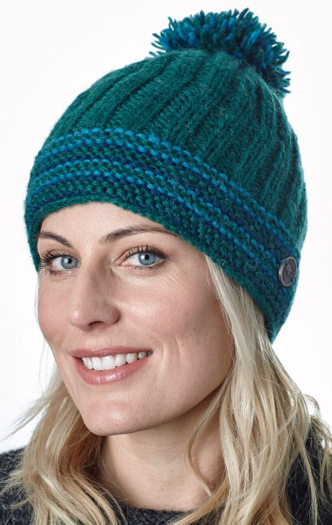 Ribbed bobble hat - pure wool - fleece lining - emerald