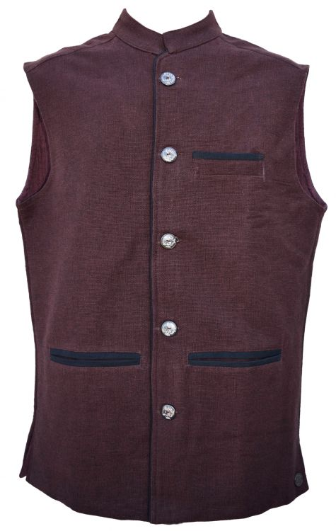 Nehru - fully lined waistcoat - chocolate brown