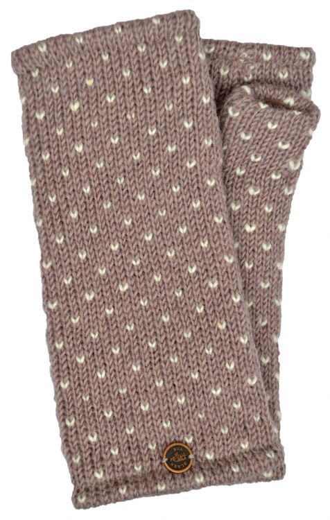 Fleece lined wristwarmer - tick - Shadow pink/white