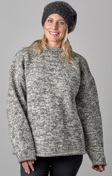 hand knit jumper - two tone  - Grey/white