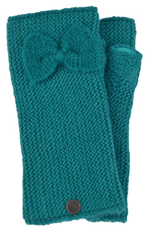 Pure wool - single bow - wristwarmers - turquoise
