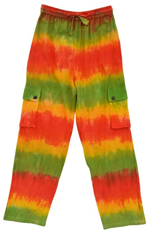 Tie Dyed cargo Trousers - Orange/Green