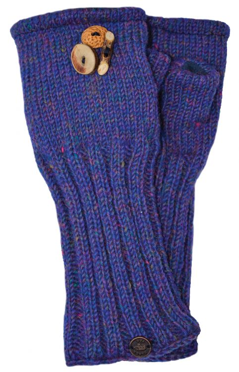 Fleece lined wristwarmer - fruit button - Blue heather