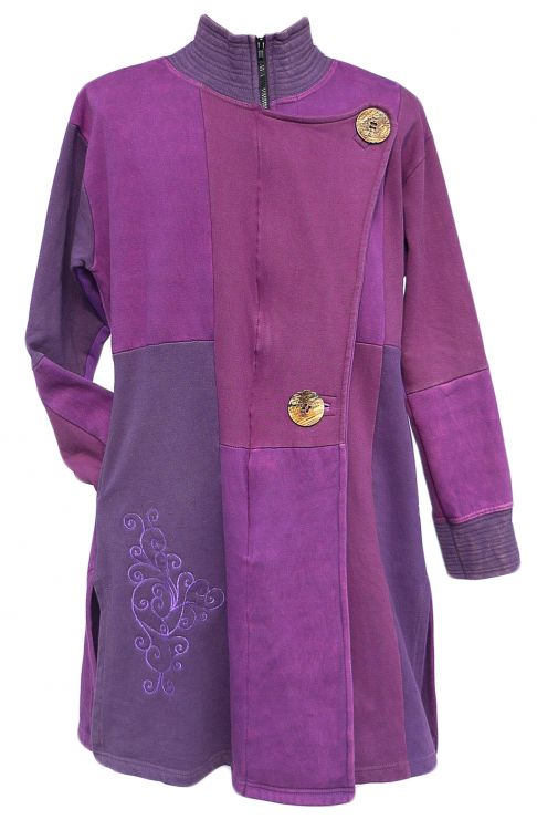 Embroidered  Patchwork Coat - Purple