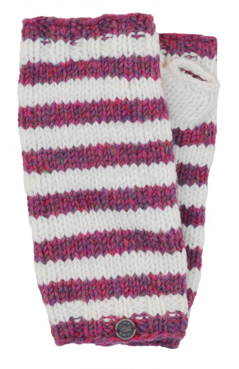 Heather mix wristwarmers - stripes - Pink and White