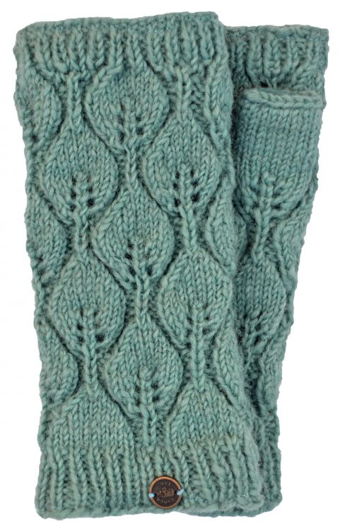 Fleece lined - leaf pattern -  wristwarmers - eau de nil