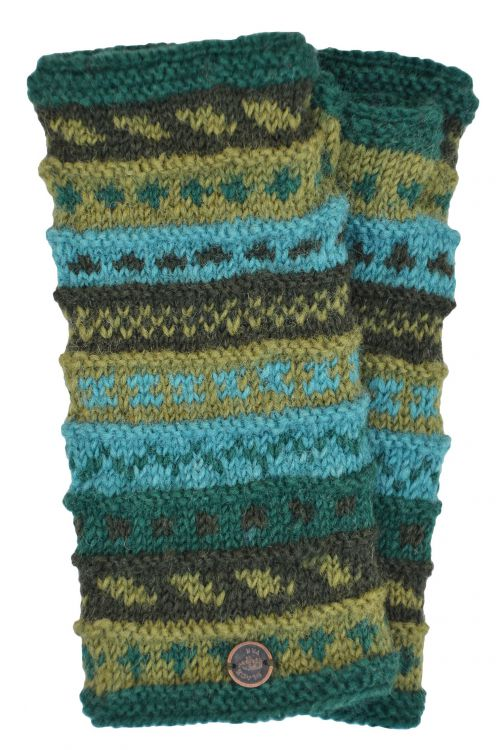 NAYA - hand knit - pattern - wristwarmer - greens
