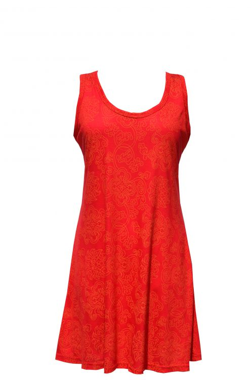 ***SALE*** - Interlocking patterns - lightweight racerback tunic - red