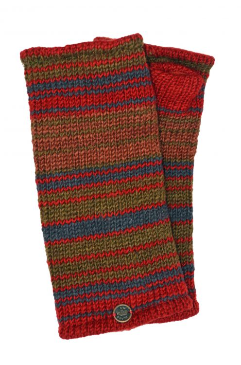 Fully lined - narrow stripe - wristwarmers - dark spice