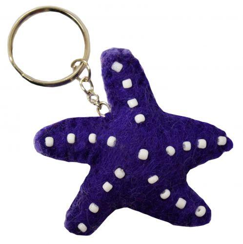 Felt - Keyring - Starfish - Purple