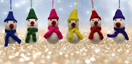 Felt - Christmas Decoration - Snowman - Blue