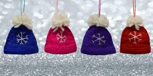 Felt - Christmas Decoration - Bobble Hat - Pink