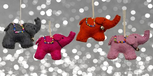 Felt - Christmas Decoration - Elephant - Dark Pink